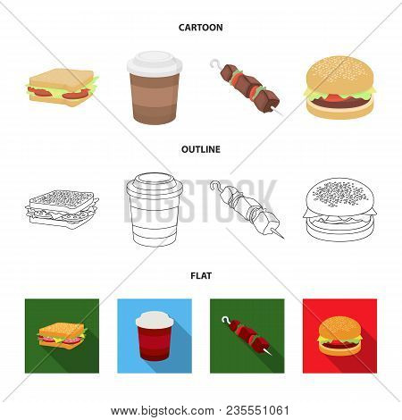 Sandwich, Coffee, Shish Kebab, Burger.fast Food Set Collection Icons In Cartoon, Outline, Flat Style