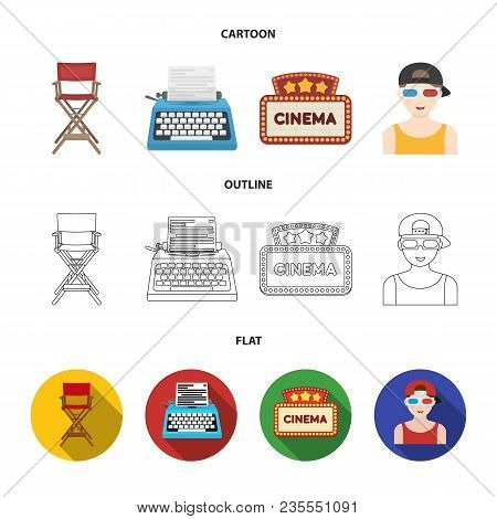 Chair Of The Director, Typewriter, Cinematographic Signboard, Film-man. Films And Cinema Set Collect