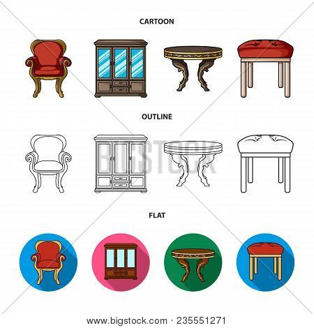Furniture, Interior, Design, Chair .furniture And Home Interiorset Collection Icons In Cartoon, Outl