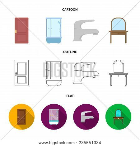 Door, Shower Cubicle, Mirror With Drawers, Faucet.furnitureset Collection Icons In Cartoon, Outline,