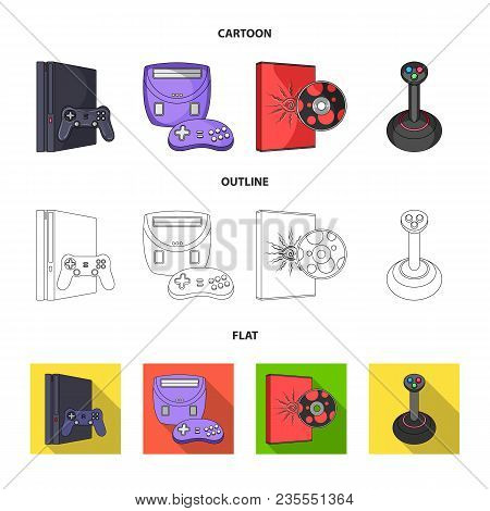 Game Console, Joystick And Disc Cartoon, Outline, Flat Icons In Set Collection For Design.game Gadge