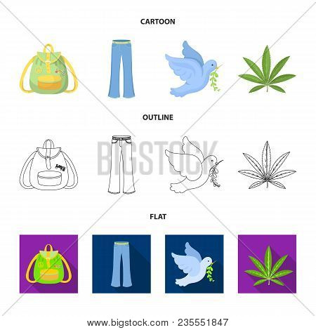 A Cannabis Leaf, A Dove, Jeans, A Backpack.hippy Set Collection Icons In Cartoon, Outline, Flat Styl