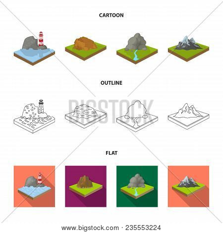 Mountains, Rocks And Landscape. Relief And Mountains Set Collection Icons In Cartoon, Outline, Flat