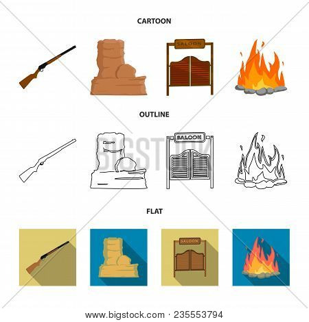 Winchester, Saloon, Rock, Fire.wild West Set Collection Icons In Cartoon, Outline, Flat Style Vector