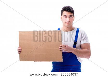 Worker with blank message screen isolated on white