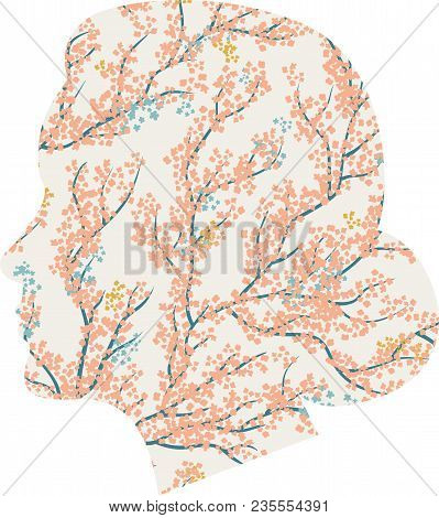 Vector Head Silhouette With Cherry Flowers. Woman-spring, The Arrival Of Spring, Tenderness.blooming