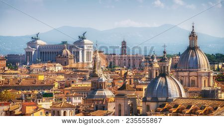 Rome, Italy Skyline In Panoramic View