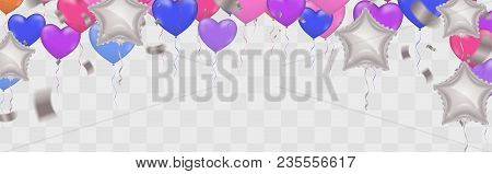 Star White Balloon And  Balloon On Background. Party Helium Balloons Balloons Isolated On White Back