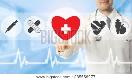 Doctor Pointing At Heart Icon On Blue Background.