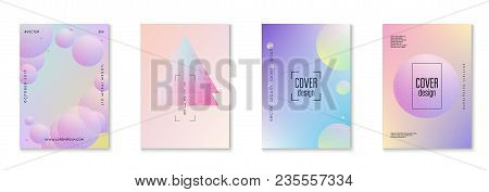 Minimal Shapes Cover Set With Holographic Fluid. Gradient Shapes On Vibrant Background. Modern Hipst