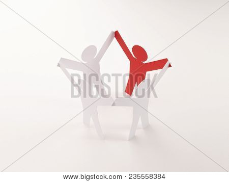Closed Joining Of Four Paper Figure With Red One In Hand Up Posture On Bright White Background. In C