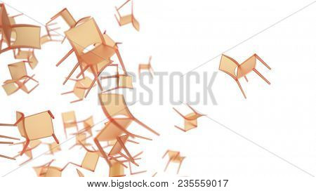 falling chairs on white, 3d illustration