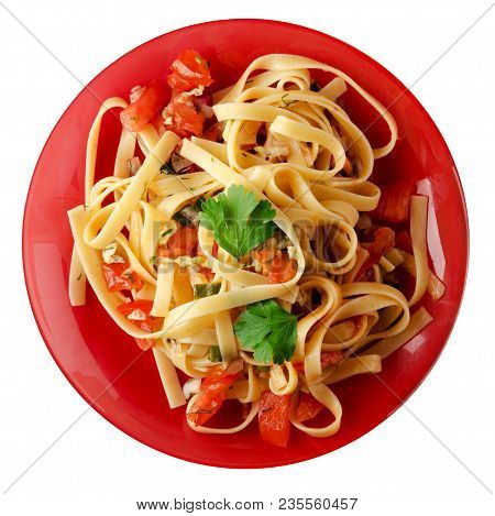 Spaghetti On A Plate. Spaghetti Tomatoes, Onions, Cabbage Isolated On White Background