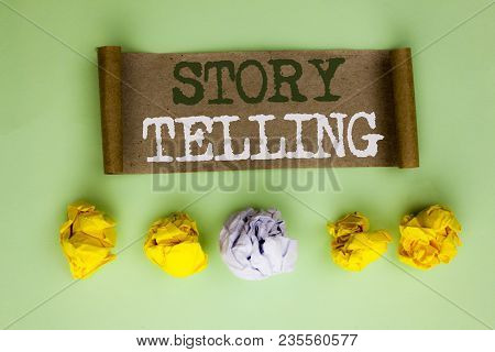 Handwriting Text Story Telling. Concept Meaning Tell Or Write Short Stories Share Personal Experienc