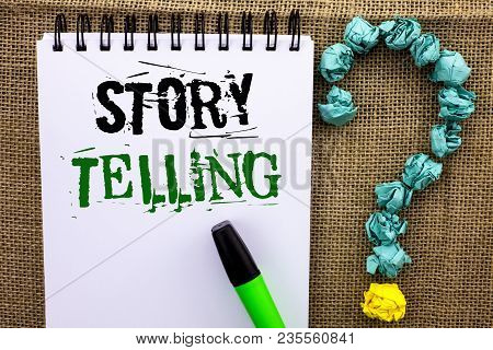 Writing Note Showing  Story Telling. Business Photo Showcasing Tell Or Write Short Stories Share Per