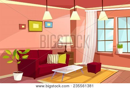 Vector Cartoon Living Room Interior Background Template. Cozy House  Apartment Concept. Illustration