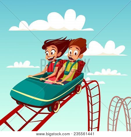 Kids On Rollercoaster Rides Vector Illustration. Boy And Girl Riding Fast On Russian Mountains Amuse