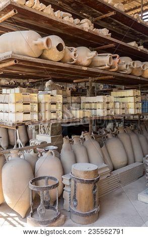 Vessels, Pots And A Variety Of Artifacts Surviving Eruption Of Vesuvius In Pompeii  Have Been Excava