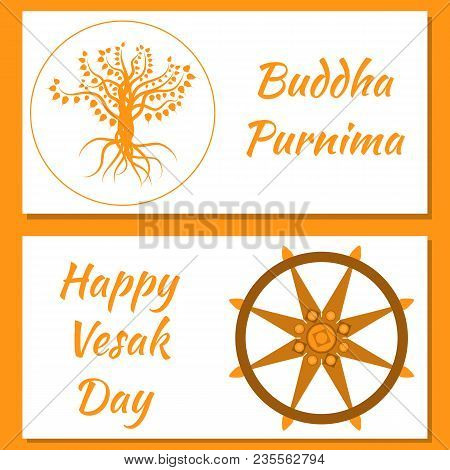 Buddhist Holiday - Vesak. Flyers For Event Participants. Bodhi Tree And Dharmachakra. On A White Bac