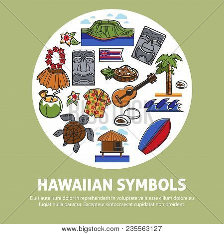 Hawaii Travel Poster Of Hawaiian Famous Symbols Or Tourist Sightseeing Attraction And Culture Landma