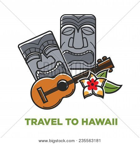 Travel To Hawaii Promo Poster With Stone Statues And Acoustic Guitar. Ancient Sculpture In Shape Of