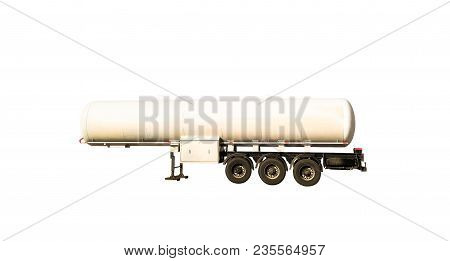 Cistern Truck For Fuel, Liquid, Gas Or Oil Storage. Tanker Isolated On White Background