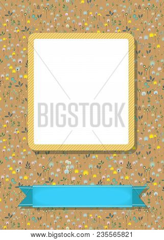 Floral Greeting Card. Graceful Blossoming Dandelions. Yellow Frame For Custom Photo. Blue Banner For
