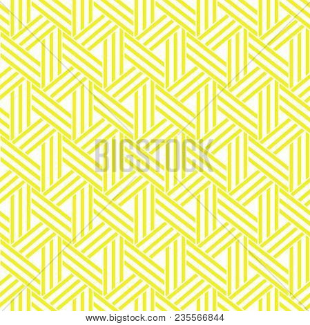 Abstract Geometric Pattern With Stripes, Lines. A Seamless Vector Background. White And Yellow Ornam