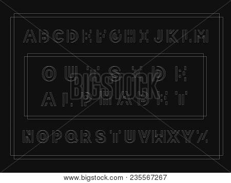 Outside Bold Font. Vector Alphabet Letters. Typeface Design.