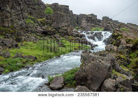 Þingvellir, Where The European And American Plates Meet.  Thingvellir National Park Near Reykjavik,