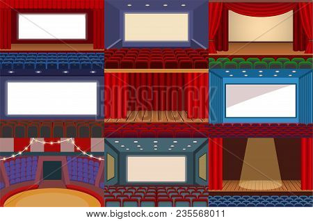 Theater Vector Theatre Stage And Theatrical Opera Performance Illustration Theatrically Set Of Cinem