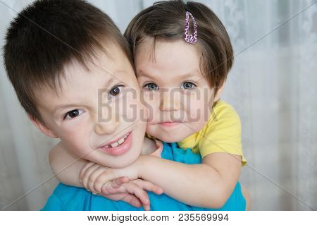 Animosity Between Brother And Sister. Siblings Children Portrait - Boy And Little Girl, Together. Fa