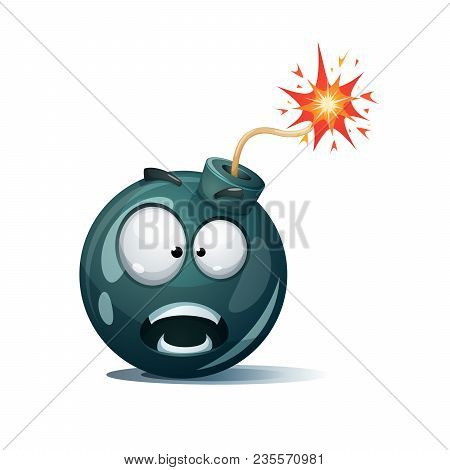 Cartoon Bomb, Fuse, Wick, Spark Icon. Scared Smiley Shock Smiley Vector Eps 10