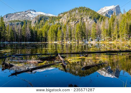 Nymph Lake and reflection with mountains in snow around at autumn. Rocky Mountain National Park in Colorado, USA.