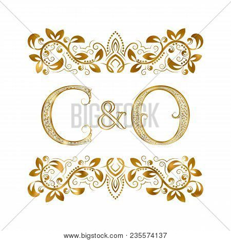 C And O Vintage Initials Logo Symbol. The Letters Are Surrounded By Ornamental Elements. Wedding Or
