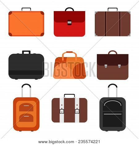 Handle Bags And Travel Suitcases In Flat Style. Set Of Colored Luggage And Suitcase, Baggage And Bag