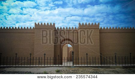 Gate Of Partially Restored Babylon Ruins At Hillah, Iraq