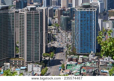 Seoul, Korea - April 26, 2017:  Cityscape Of Hoehyeon-dong And Myeong-dong, Central Area Of Seoul. T