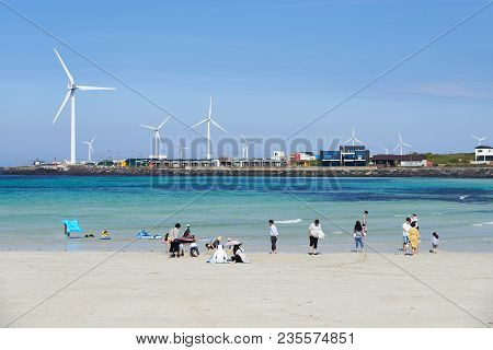 Jeju, Korea - May 22, 2017: Woljeongri Beach. The Beach Is Famous For Clean And Fine White Sand. In