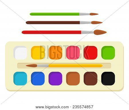 Set Of Bright Watercolor Paints In Box With Paint Brushes. Colorful Palette. Tools And Accessories F