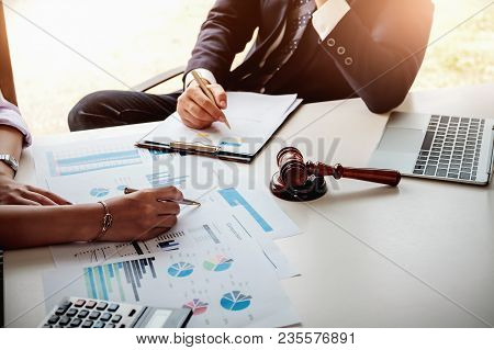 Business Law, Business Woman Consulted With Her Lawyer About Her Business Law.
