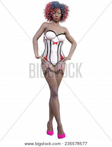 Tall Sexy Woman White Corset And Dark Stockings Garters.burlesque Show.girl Magnificent Voluptuous S