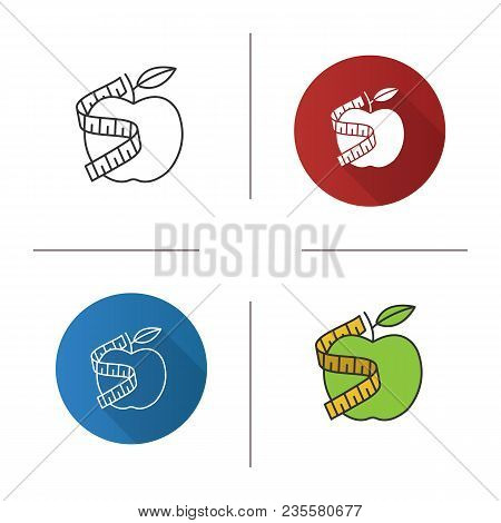 Measuring Tape Around Apple Icon. Flat Design, Linear And Color Styles. Healthy Nutrition. Dieting.