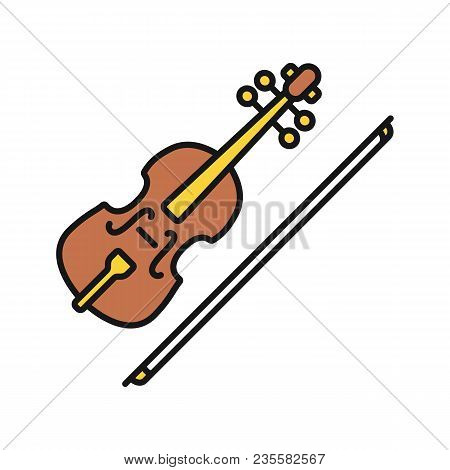 Violin Color Icon. Fiddle. Isolated Vector Illustration