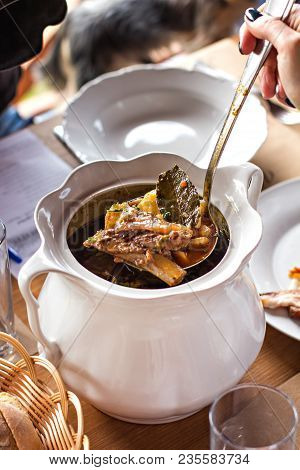 Meat Soup. Goulash. Bogach. Tureen With Soup With Meat. Tasty Winter Traditional Hot Pot Stew With M