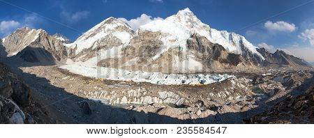 Evening Panoramic View Of Mount Everest Base Camp, Everest, Nuptse, Khumbu Glacier, Sagarmatha Natio