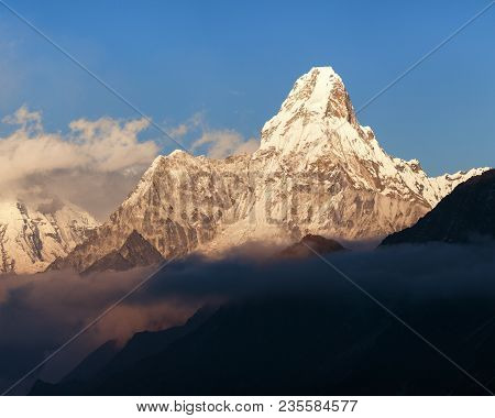 Evening View Of Ama Dablam With Beautiful Clouds From Kongde Village, Khumbu Valley, Solukhumbu, Nep