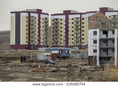 Buildings Under Construction. High-rise Building. Construction Of Multistoried Buildings. Constructi
