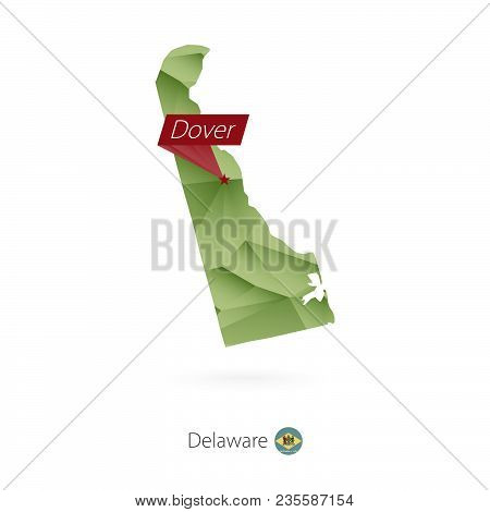 Green Gradient Low Poly Map Of Delaware With Capital Dover