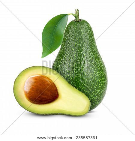 Isolated Avocado. Whole Avocado Fruit And Two Halves In A Row Isolated On White Background.